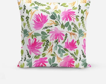 Peonies of Spring Throw Pillow, Decorative Throw Pillow, Throw Pillows, Green Decor, Watercolor Throw Pillows, Floral Watercolor Cushions