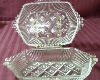 Vintage candy, relish dishes. Set of 2.