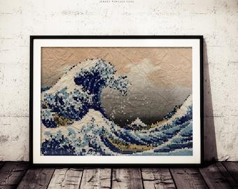 The Great Wave off Kanagawa Katsushika Hokusai Lowpoly Triangular Geometric Abstract Art, Original Polygonal Paper Background Version Print