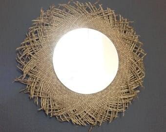 Mirror round rattan