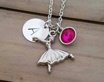 Ballerina Necklace with Personalized Charm Ballet Dancer Necklace Ballerina Jewelry