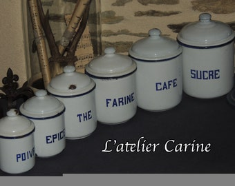 Series of canisters enamelled, enamelled, french enamel