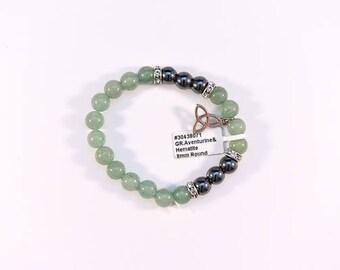 Stunning Green Aventurine and Hematite bracelet.