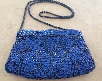 La Regale Cobalt Blue Sequined and Beaded Clutch Purse Vintage