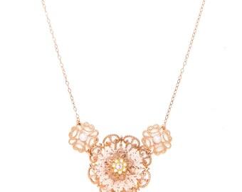 Rose Gold Bridal Flowers Necklace, Rose Gold Lace Necklace, Bridal Flowers Necklace, Bridesmaid Necklace Gift, Vintage Wedding Necklace Gift
