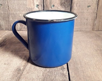 Vintage Enamelware Blue and White Mug\Coffee Cup