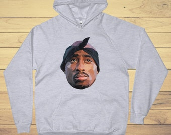 Tupac Hoodie - Grey  2pac Mens Hoodie - S-XL -  Men's Grey Hoodie
