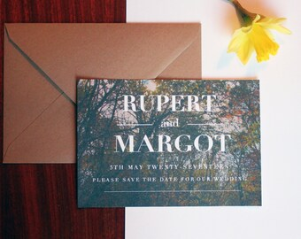 SAMPLE ONLY Woodland Themed Wedding Save The Date Cards Invitation A6 With Rustic Kraft Envelope