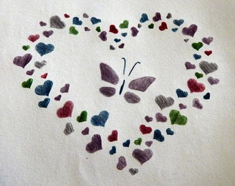 Butterfly and Hearts Print
