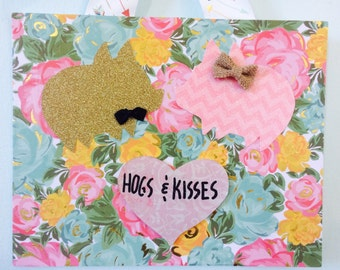 Hogs and Kisses pig wall decor