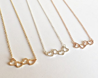Rose gold chain heart, rose gold plated necklace
