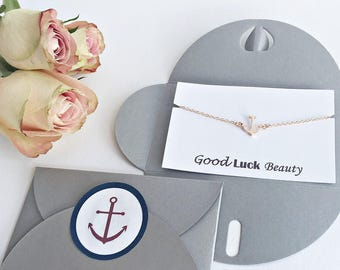 4x Good luck gift: personalized card + bracelet