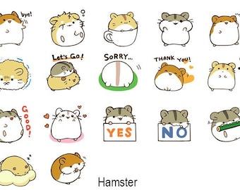 Alideco cute kawaii washi sticky masking deco tape podgy hamsters