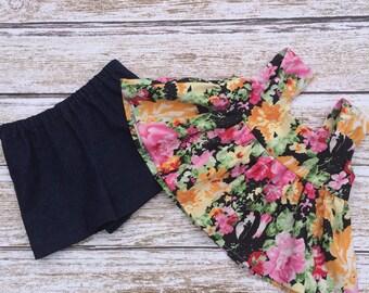 SALE - Girls Shorts Set - Girls Holiday Outfit - Girls Top and Short Set - Girls Flower Swing Top and Shorts - Shorts Set -