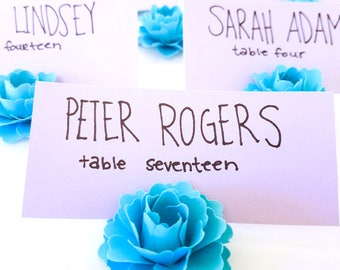 Aqua Wedding Place Card Holders | Aqua Paper Flowers | Table Place Card Holders | Wedding Place Card Holders (Set of 30)