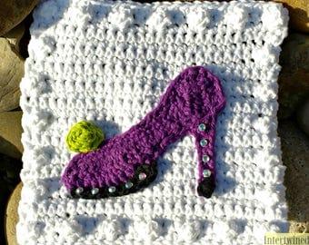 Crochet High Heel Applique Granny Square PATTERN: Like a BOSS Blanket Series pdf instant digital download