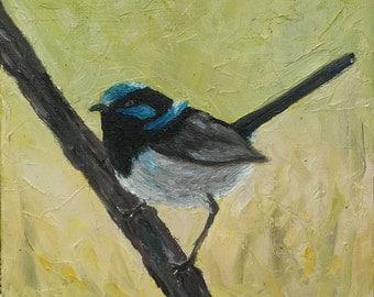 Original 8x8'' oil on canvas painting of blue wren bird