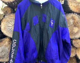 Vintage 90s Colorado Rockies Nylon Zip Up Jacket Sz L ALMOST NEW!
