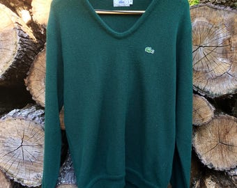 Vintage 80s Izod Lacoste Deep V-Neck Sweater Sz M USED