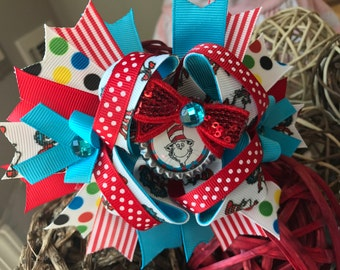 Girls cat in the hat bows thing 1 thing 2 hair bows cat in the hat bow dr seuss bows dr. Seuss birthday bow cat in the hat bows