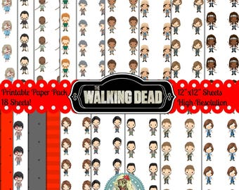 The Walking Dead, Walking Dead, Walking Dead Printable, Walking Dead Paper Negan, Digital Paper, Daryl Dixon, Rick Grimes, zombie, AMC