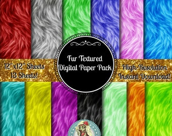 Fur Textured Digital Paper Pack, Fur Paper, Animal Print, Animal Skins, Textured Paper, Scrapbook Paper, Digital Scrapbooking, Instant Downl