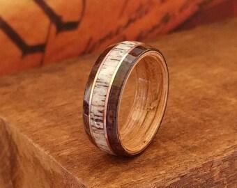 East Indian Rosewood Ring with Elk Antler & Copper