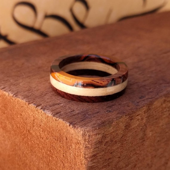 Cocobolo and Holly Wood Ring - Wooden Ring Men Wedding Band Women Engagement Ring Wood Anniversary