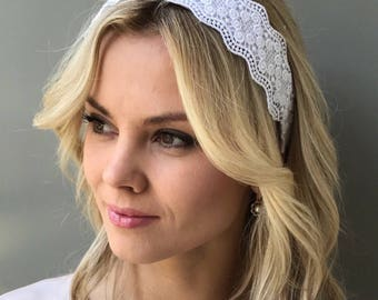 Bridal crown lace headband adult White Lace Headband Sequin Headpiece Lace Wedding crown lace hair piece Hair Boho Wedding headband lace