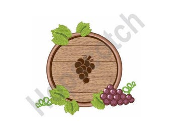 Wine Barrel  And Grapes - Machine Embroidery Design