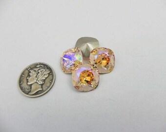 Swarovski 4470 Light Peach Shimmer F 12mm Cushion Cut Stone (1 piece)
