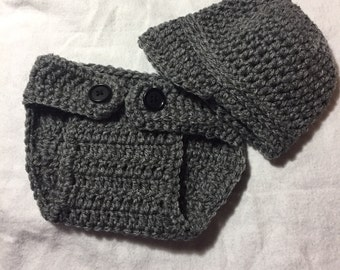 Newborn Newsboy diaper cover and hat, baby boy hat, baby girl hat, baby shower gift