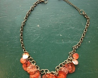 Mother of Pearl Necklace Tinted Red