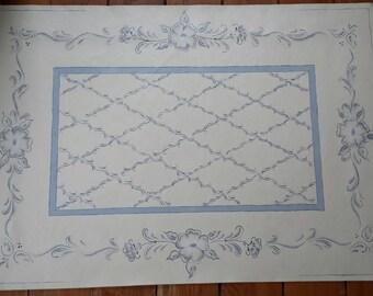 Floor Cloth, Canvas Floor Cloth, Rug, Canvas Floor Mat, Hand Painted, Folk Art Floor Cloth, Folk Art Floral