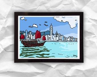 Digital download Hong Kong, digital illustration