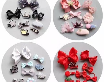 Baby girls hair clips set ,hair bow set. Hair bow clips ,glitter hair accessories set