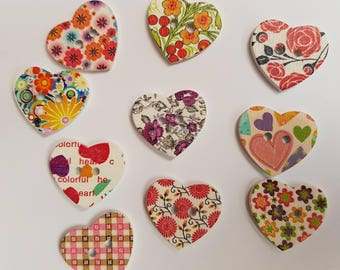 10 Beautiful Heart Buttons - Wooden