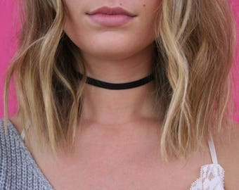 Black Leather Choker, Vegan Leather Choker, Skinny Leather Choker, Leather Choker, Black Choker, Vegan Choker, Vegan Leather  (A31)