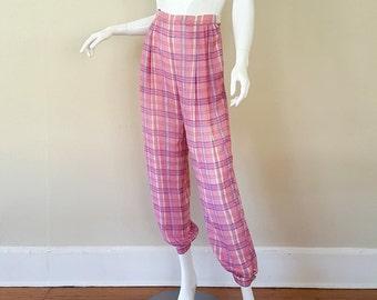 Vintage 80s Silk Valentino Pants / Pink Plaid Valentino 80s Harem Pants / Size S