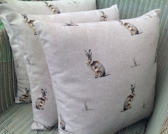 Hare and Polka Dot Cushion, Pillow in Natural Linen Colour with Pad and Concealed Zip