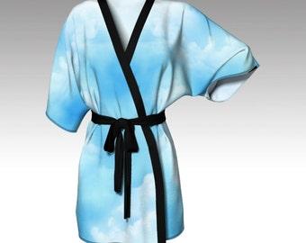 Kimono Robe, Draped Kimono, Dressing Gown, Blue Robe, Beach Coverup, Bridesmaids Robes, Lounge Wear, Swimsuit Coverup, Womens Clothing, Gift