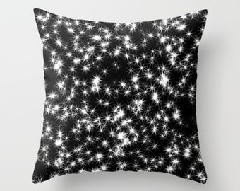 Star Pillow, Black and White, Pattern Pillow, Black Pillow, Space Pillow, Throw Pillow Cover, Toss Pillow, Toss Cushion, Throw Cushion, Sofa