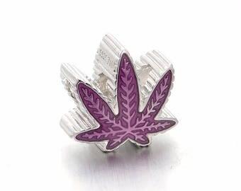 Purple Cannabis Smokeybead Pot Leaf Sterling Silver