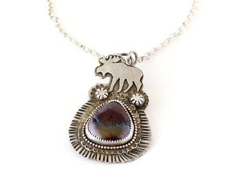 Koroit Boulder Opal, Sterling Silver Moose Necklace