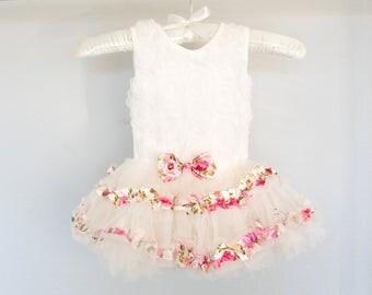 Rose Tutu Romper Dress