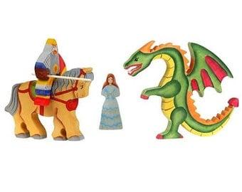 Dragon, princess, knights, Wooden dragon, Wooden toy, Waldorf toys, Tactile wooden toys, Wooden warrior, Montessori toys, Set of wooden toys