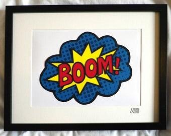 BOOM! HELL YEAH! Pop art inspired A4 paper cut. 100% handcut.