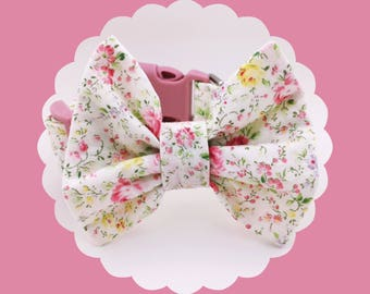 Ivory Floral w/ Pink Roses & Bow Dog or Puppy Collar