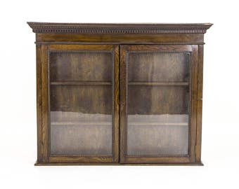 B492A Oak Glass Fronted Display Cabinet, Hanging Wall Cabinet, Collectors Cabinet
