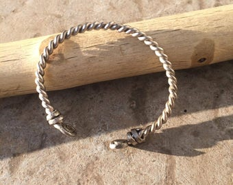 Viking style torque bracelet, sterling silver